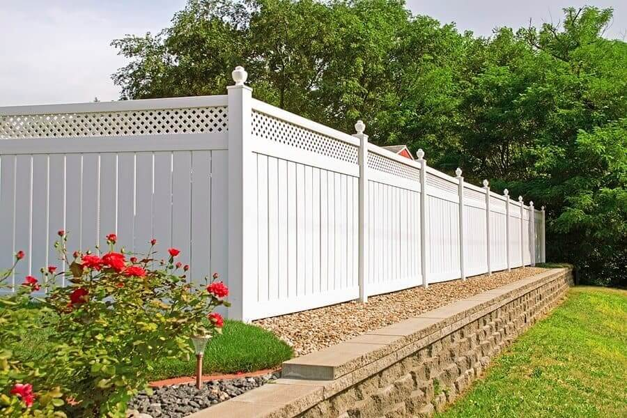 Modern white wooden fence
